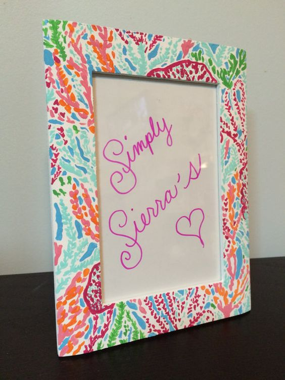 lilly pulitzer picture frame by simplysierras on etsy lillypulitzer monogram pink flower