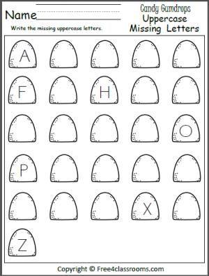free missing uppercase letters worksheet write the missing letters on the gumdrops language. Black Bedroom Furniture Sets. Home Design Ideas