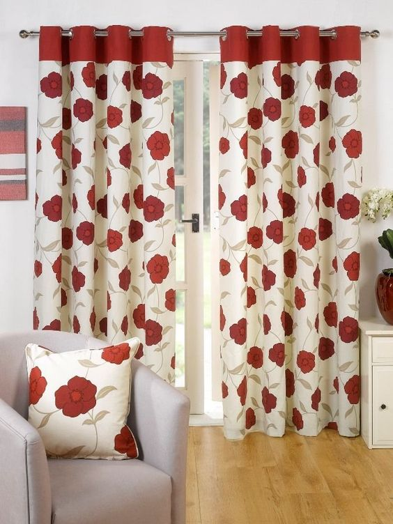 SUPERB 100% COTTON RED CREAM FLORAL POPPY RING TOP LINED CURTAINS ...