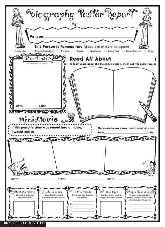 biography book report template Biography Report – Book Report Worksheet