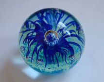 Vintage Paperweight Glass Paperweight Blue Flower Paperweight Art Glass Collectible Glass Blue Paperweight