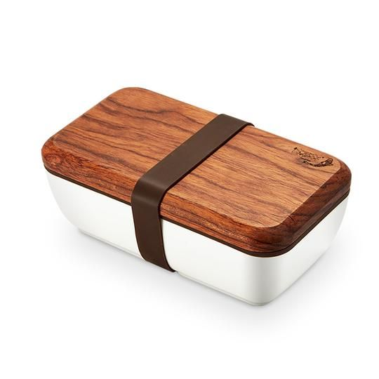 Japanese Ceramic Lunch Box Wood Lid Portable Food Container 550ml