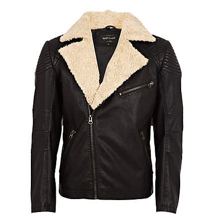 River Island - Black borg collar biker jacket - leather / leather