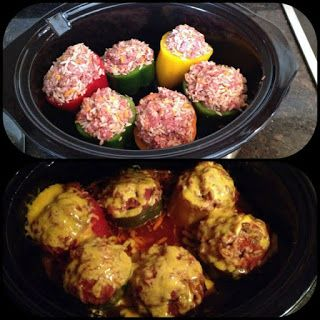Crockpot Stuffed Peppers Ingredients : Very delicious!! I cooked for 6.5 hours on low and the peppers turned out very tender! Cook rice fir...
