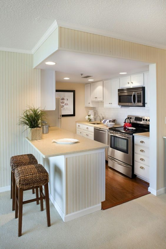 Cocinas Americanas En Espacios Pequenos Remodelacion De Cocina Pequena Decoracion De Cocina Remodelacion De Apartamento