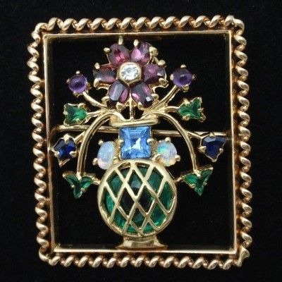 14k Gold & Glass Stone Flower Vase Pin Pendant Variety Gemstones