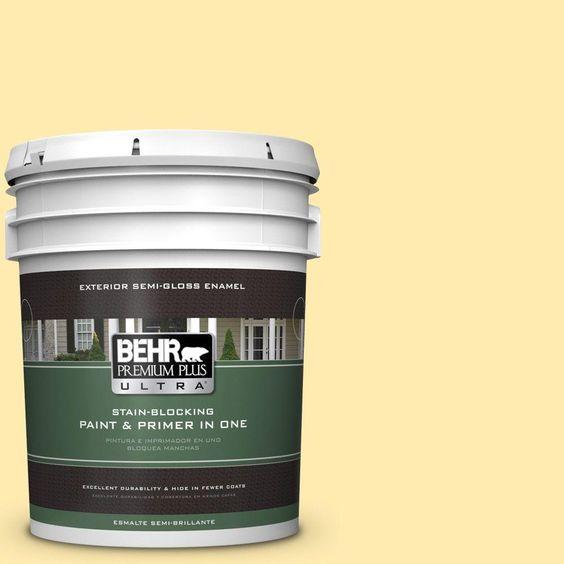 BEHR Premium Plus Ultra 5-gal. #360A-3 Banana Split Semi-Gloss Enamel Exterior Paint