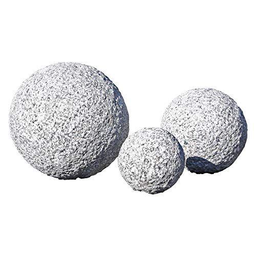 Clgarden Lot De 3 Boules Decoratives En Granit Boucharde Fait A La Main Decoration De Jardin Rocaille Japonaise Decoration Jardin Boule Deco Ornement De Jardin