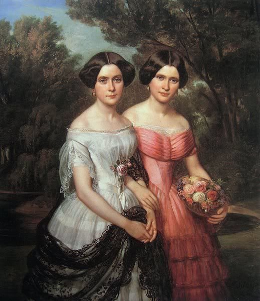 Julius Schoppe 1852.  Their dresses are very Jane Eyre-esque. I love that style. <3 Romantic.: