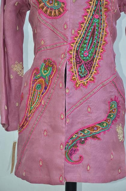 Pink Embroidered Long Sleeve Silk Brocade by Ihotcollection