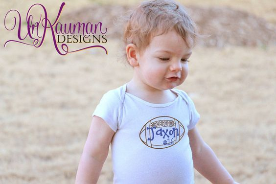 Baby Onesie - Personalized w/Name, # and Football for boys- Baby Shower Gifts