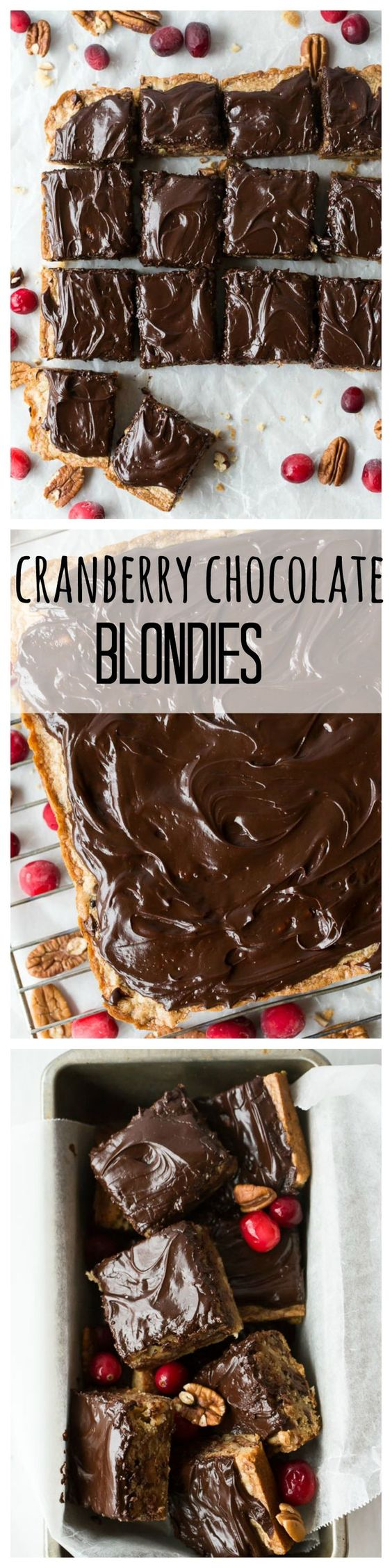 ... chocolate ganache — These Cranberry Chocolate Chunk Blondies are the