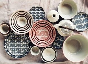"Tableware by House Industries and Hasami-Yaki Brand ""Monohara"""