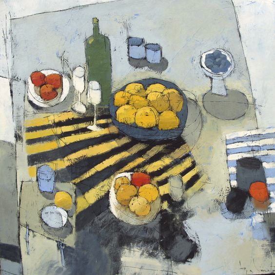 """Summer Table. Oil on Wood Panel. 30""""x30"""""""