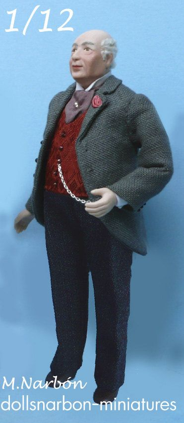 very nice elegant 1:12 scale porcelain grandfather doll by Maria Narbon