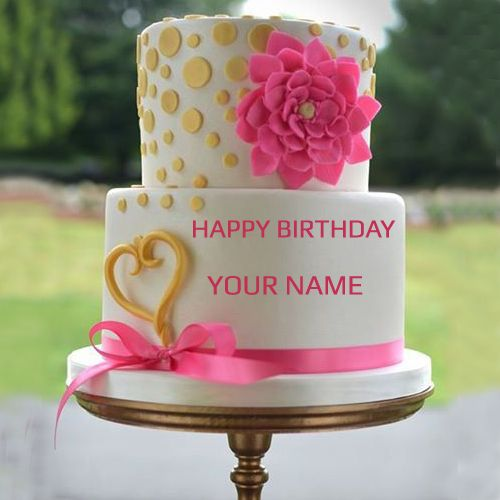 Write your name on pink rose wedding cake pic wishes