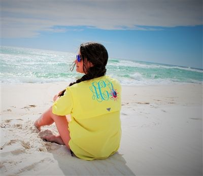 Monogrammed Columbia Fishing Shirt with Lilly Pulitzer Sun! {www.throw-a-tantrum.com}