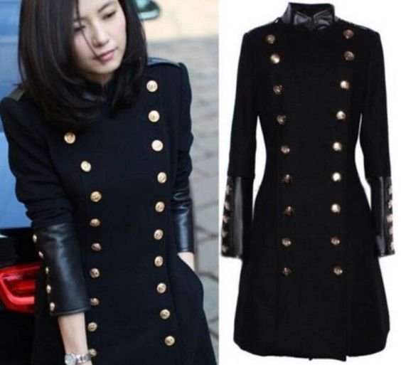 Details about Womens Trench Coat Slim Fit Wool Blend Double