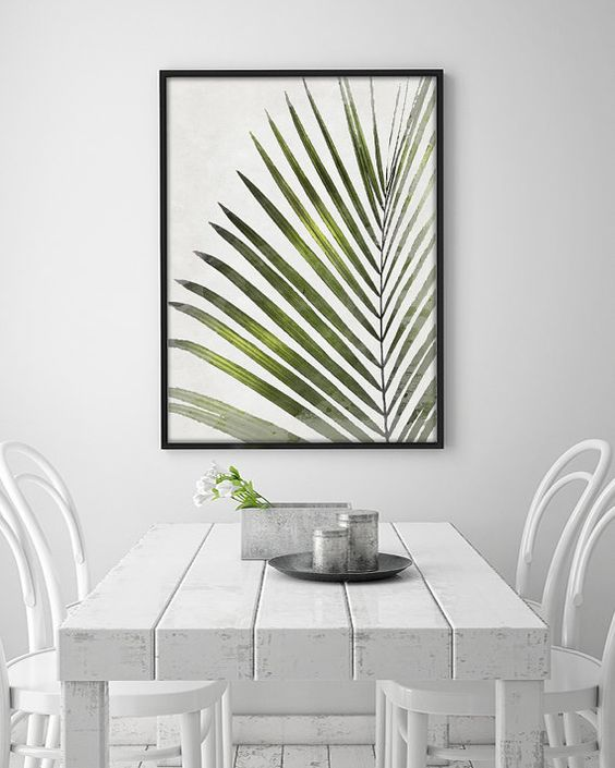 A funny tropical leave. Perfect for decorating the living room, hallway or a room. And its like a painting! Give your home a pop of color and: