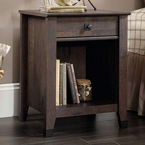 Night Stand Coffee Oak Finish Glide Drawer Open Storage Shelf Wrought Iron Style Bedside Table Enginee Bedroom Night Stands Oak Finish Wrought Iron Style