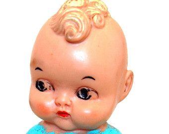 Vintage Retro Kewpie Doll Squeaky Blue Curly Hair Mid Century