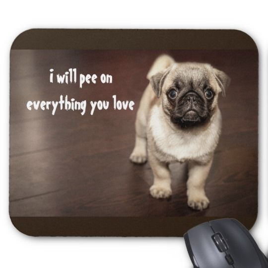 Cute Funny New Puppy Pug Pee Potty Training Mouse Pad Pug