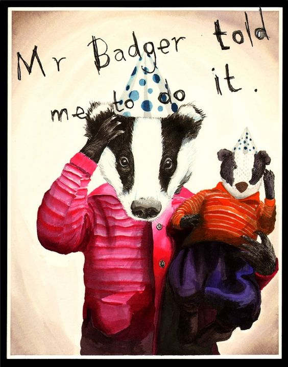 Mr Badger print  11x14 by jimbobart on Etsy, $34,50: