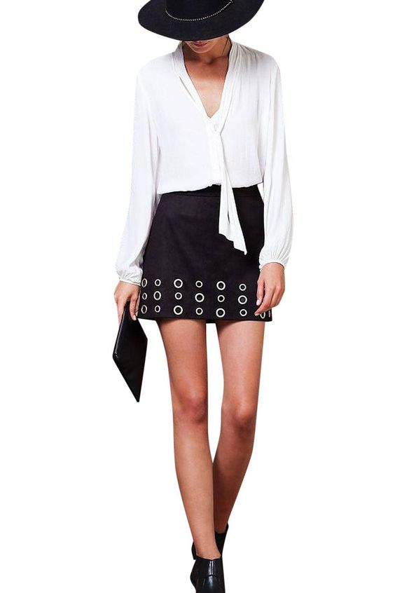 Black High-rise Waist Suede Skirt with Eyelet Detail - US$21.95 -YOINS