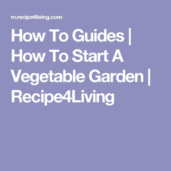 How To Guides | How To Start A Vegetable Garden | Recipe4Living