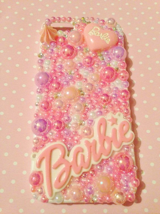 Iphone 5 Decoden White Case, KAWAII, BARBIE Pink Cute Deco Case. DIY uk seller on Etsy, £19.99