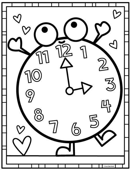 Color Clock Jpg Boyama Sayfalari Okul Oncesi Okul Oncesi Baskilari