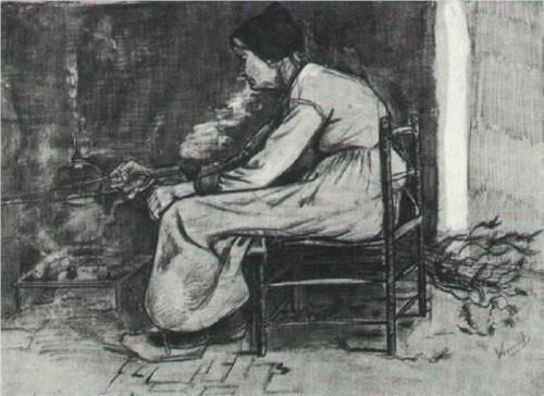 Woman Sitting at the Fireside - Vincent van Gogh