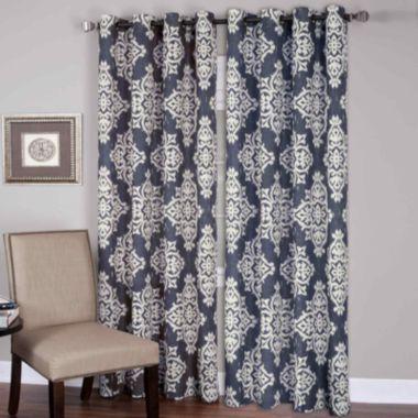 Medina Ikat Grommet-Top Curtain Panel   Outdoor curtains, Curtain ...