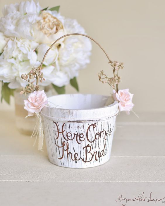 Girly Rustic Chic Bedroom: Here Comes The Bride Flower Girl Basket Rustic Shabby Chic