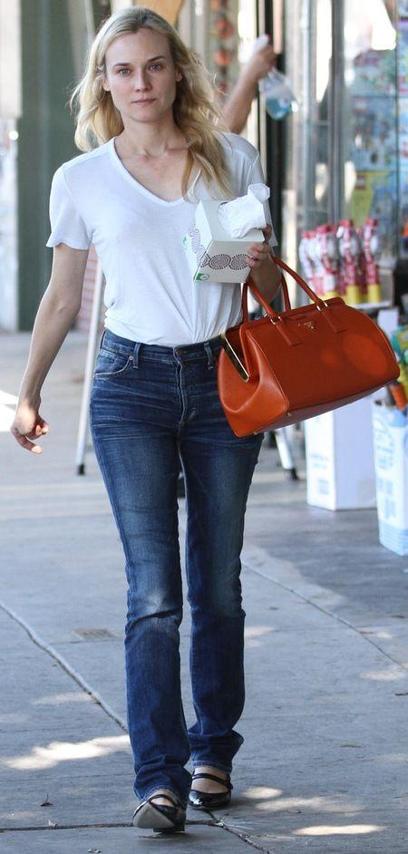 dark blue prada bag - Diane Kruger's orange Prada bag. www.handbag.com | Best designer ...