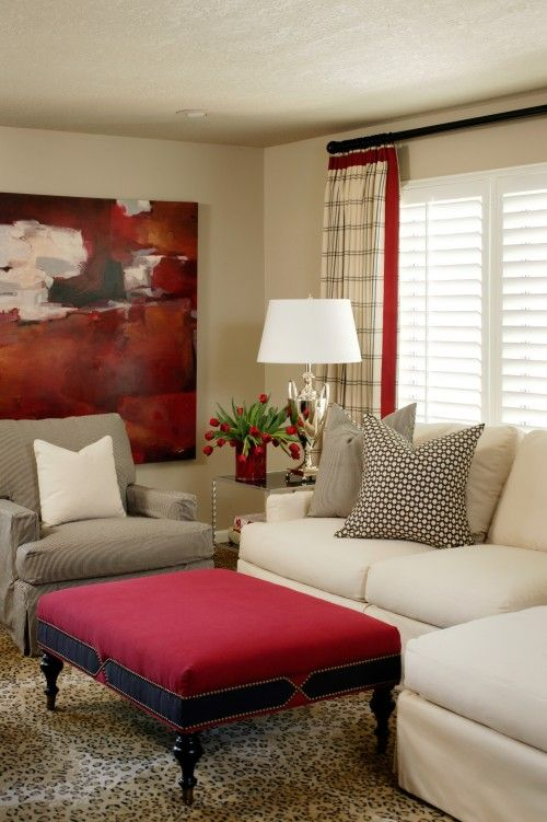 Neutral couch and chair with pops of color love it my whole house is red and white and black. Sure makes you happy with all this colo.