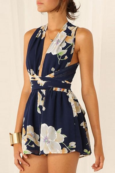 Navy Floral Crossover Rompers - OASAP.com