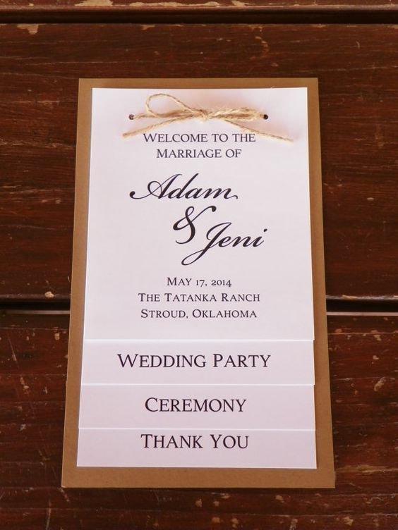Wedding program, wedding party, thank you card, four tiered rustic wedding program
