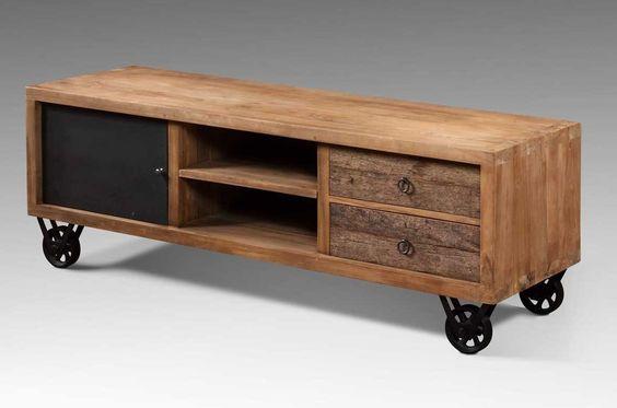 Mueble para lcd plasma en madera reciclada palet for Comprar mueble industrial