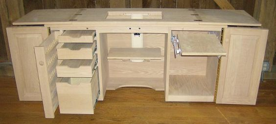 Sewing Machine Cabinet With Serger Lift