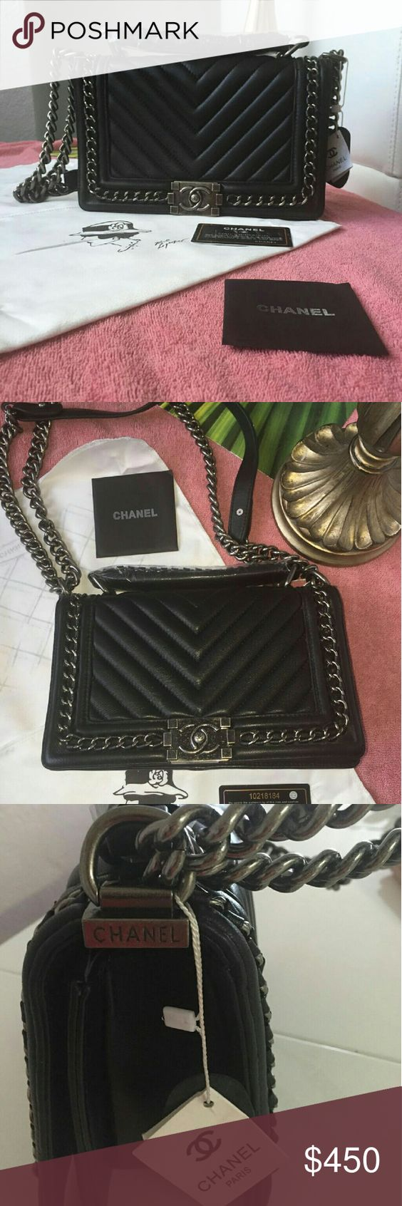 Chanel chevron le boy Never used genuine leather, heavy metal straps, medium size. Comes with everything dust bag, authenticity card and booklet. CHANEL Bags Shoulder Bags