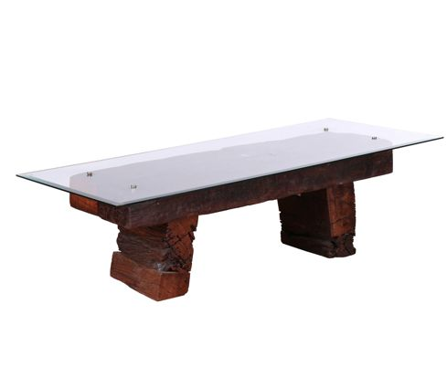 reclaimed railway sleeper coffee table with glass (image 1