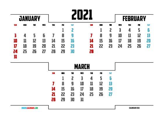 free printable january february march 2021 calendar