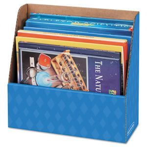 Bankers Box Folder Holder Storage Box, 11 3/4 x 4 1/2 x 11, Blue - Folder holder. $40 for 12. Could cover with paper, bb trim, or spray paint.