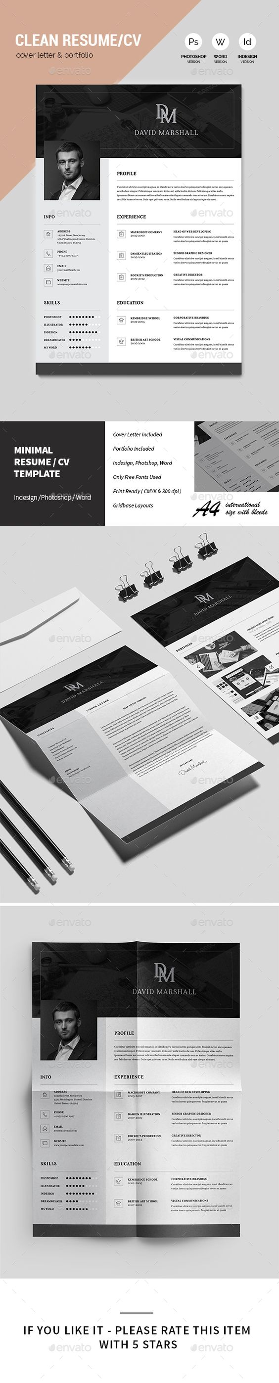 clean resume cv resume cv resume and cv template clean resume cv template indesign indd here graphicriver