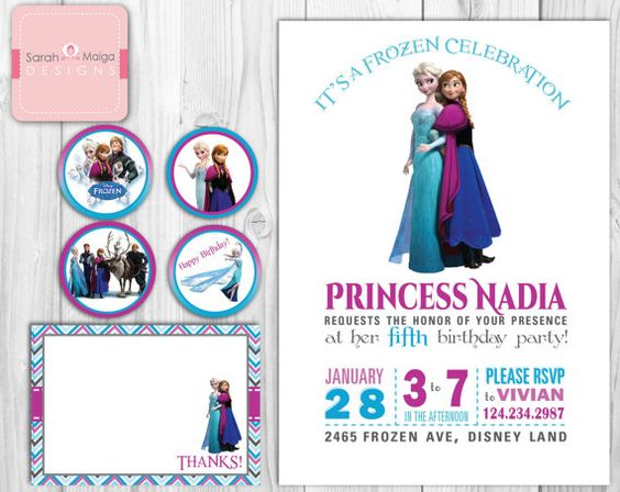 "Little Girl Frozen Princess Birthday Invitations, Thank You Note & Cupcake Toppers - Modern Customizable - Invite  - ""5 x 7"" on Etsy, $20.00"