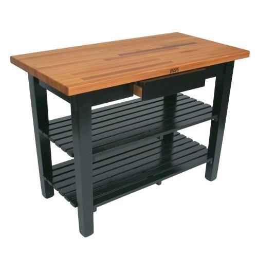 36 Alabaster Oak Table W Shelf Casters Butcher Block Tables Work Table John Boos