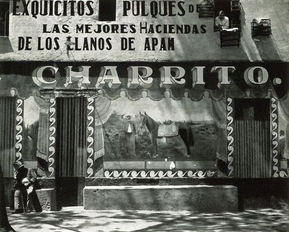 "Edward Weston, Pulqueria, Mexico, 1926. Returning to Mexico..., he photographed with a stronger feeling for light and texture [in] the markets, the wall paintings outside native bars... Reviewing the Weston show at Guadalajara, 1925, Siqueiros wrote, ""In Weston's photographs, the texture—the physical quality—of things is rendered with the utmost exactness... In a word, the beauty which these photographs of Weston's possess is photographic beauty!"""