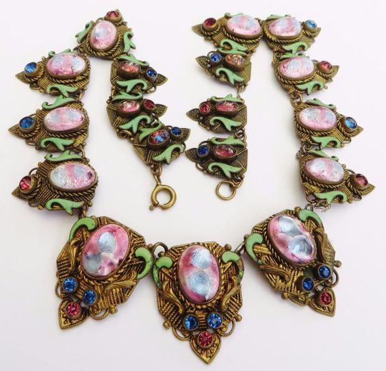 Vintage Max Neiger Art Deco Ornate Graduated Czech Glass & Enamel Necklace #Neiger