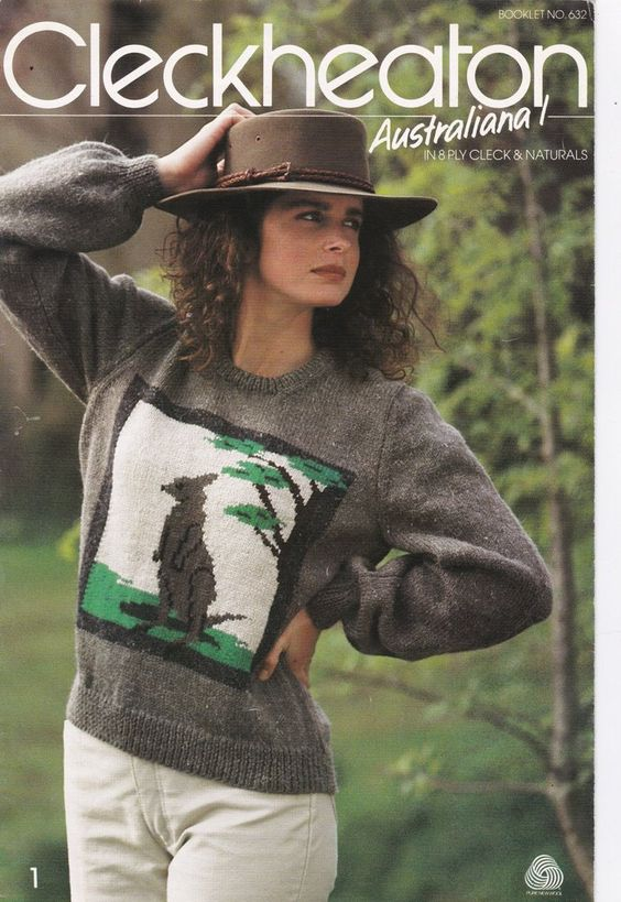 Knitting Patterns Sweater Australiana Kangaroo Koala Possum Platypus Booklet ...